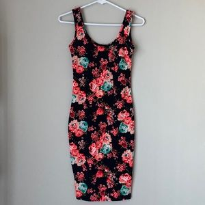 Pink and Black Floral Bodycon Rue22 Dress
